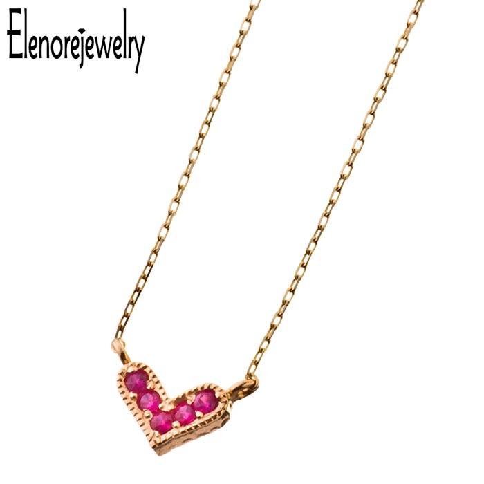 【エレノアジュエリー】Elenore Jewelry 10K ゴールド ネックレス レディース ルビー ハート ELP0002