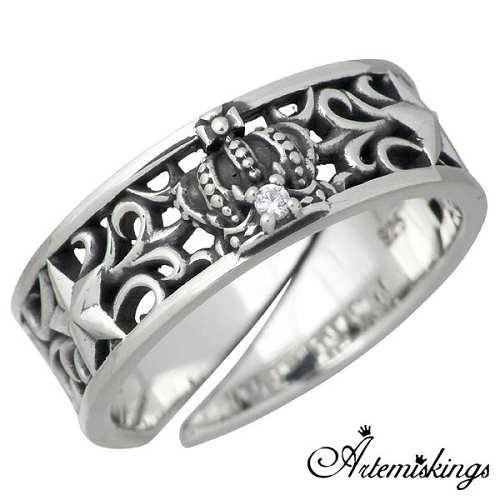 【アルテミスキングス】Artemis Kings リング 指輪 メンズ シルバークラウン スター クリアキュービック 王冠 11~21号 925 スターリングシルバー AKR0016