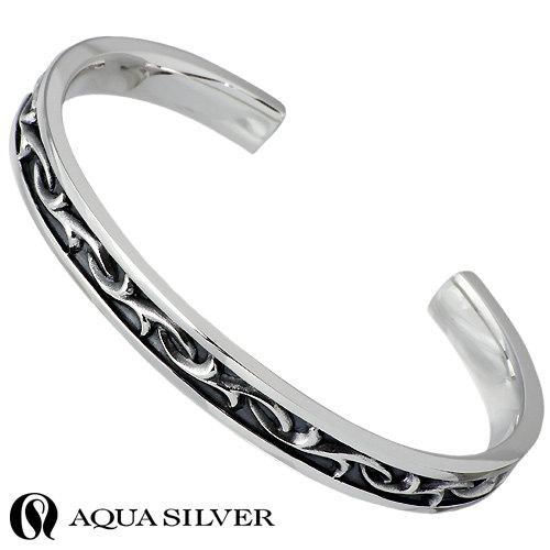 AQUA SILVER【アクアシルバー】 バングル メンズ シルバー ブレスレット アラベスク 925 スターリングシルバー AS-BG036F
