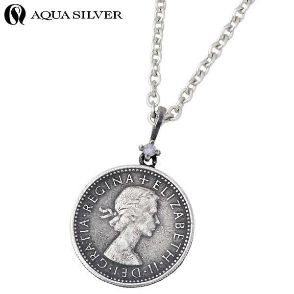 【アクアシルバー】AQUA SILVER ネックレス レディース 誕生石 シルバー ジュエリー コイン ストーン 925 スターリングシルバー ASP237F004-CL60