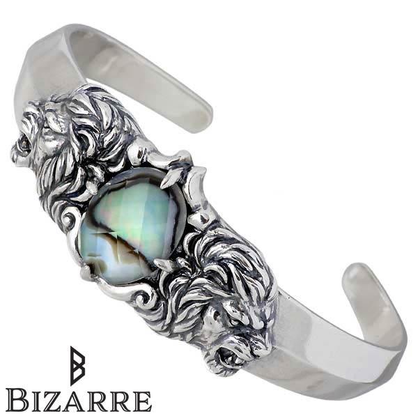 【ビザール】Bizarre バングル メンズ シルバー ジュエリー ライオン ブレスレット 腕輪 アバロン 925 スターリングシルバー SBP068