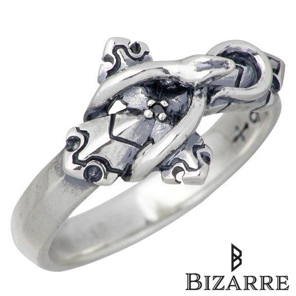 【ビザール】Bizarre リング 指輪 メンズ シルバー ジュエリー ブラックダイヤモンド クロス ヘビ 12~18号 925 スターリングシルバー SRJ123