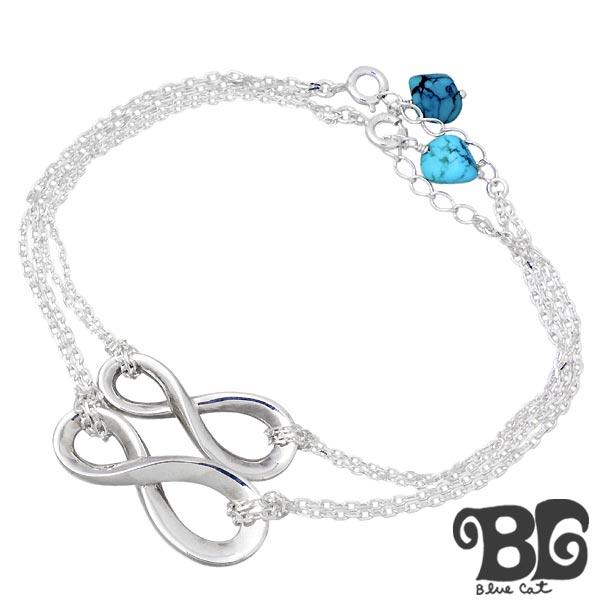 Blue Cat【ブルーキャット】 ブレスレット ペアー ターコイズ インフィニティ シルバー ブレスレット SBV771-772-P