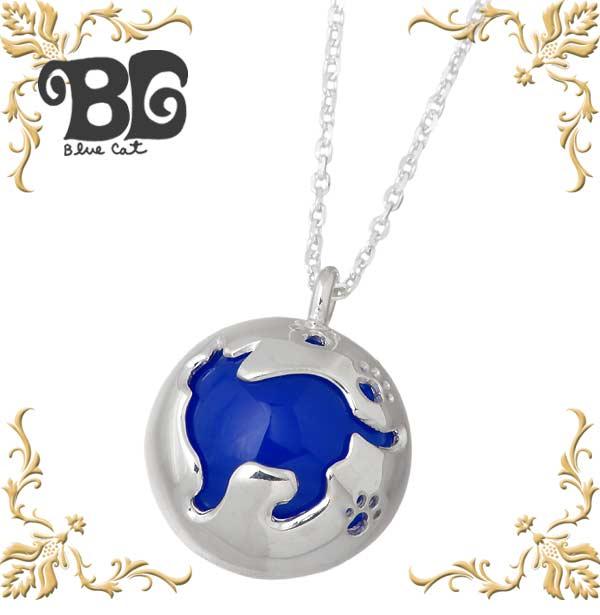 【ブルーキャット】Blue Cat ネックレス レディース ネコ シルバー ジュエリー 猫 ブルーアゲート 925 スターリングシルバー SPV737-1324