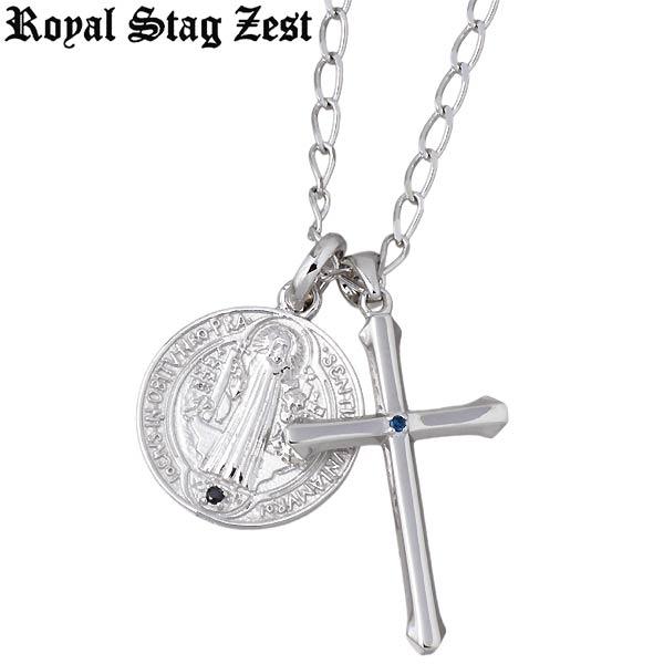 ロイヤルスタッグゼスト Royal Stag Zest ネックレス メンズ クロス シルバー ジュエリー ブルーダイヤモンド キュービック メダイ SN25-028