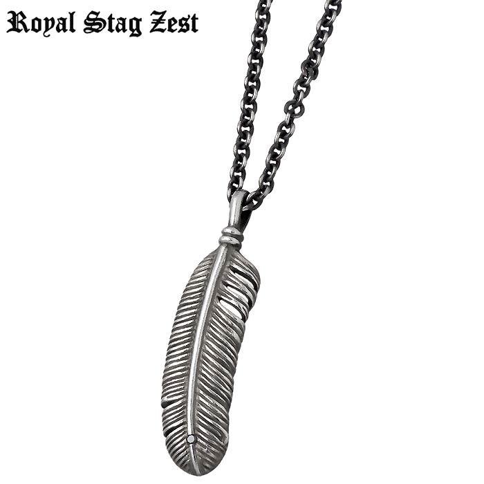 【ロイヤルスタッグゼスト】Royal Stag Zest シルバー ジュエリー ネックレス ブラックダイヤモンド フェザー メンズ 羽根 SN25-030