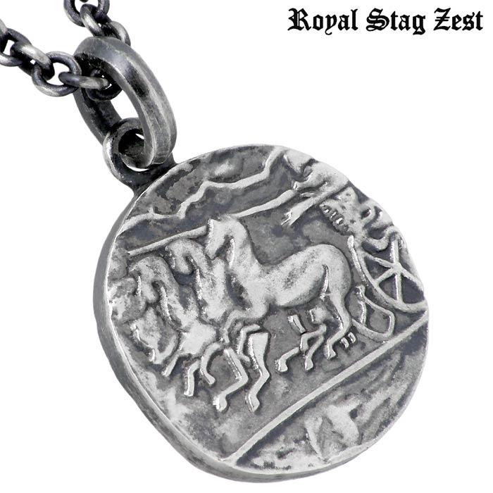 ロイヤルスタッグゼスト Royal Stag Zest シルバー ジュエリー ネックレス ブラックダイヤモンド コイン メンズ SN25 034UMVpSzqG