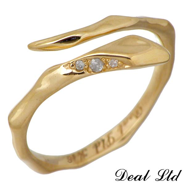 【ディールエルティーディー】DEAL LTD ゴールド リング 指輪 LINE SNAKE RING W S K18 ゴールド リング ダイヤモンド スネーク ヘビ 7号~19号【ディールデザイン】DEAL DESIGN 310184K18