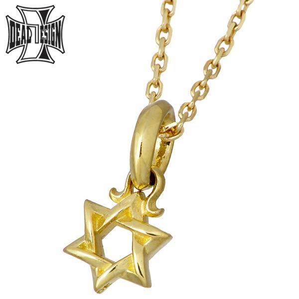 【ディールデザイン】DEAL DESIGN ゴールド ネックレス シックスター チャーム K18 K10チェーン メンズ 393109K18-K10