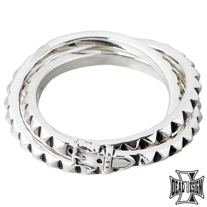 DEAL DESIGN ディールデザイン ついに再販開始 シルバー リング 指輪 レイヤード スタッズ 393269 送料無料 セール特価 7~23号 レディース メンズ トリプル ジュエリー