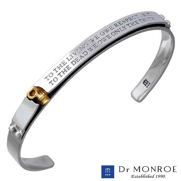【ドクターモンロー】Dr MONROE バングル メンズ シルバー ジュエリー K18 スカル ドクロ メッセージ 925 スターリングシルバー BR-35K-SV