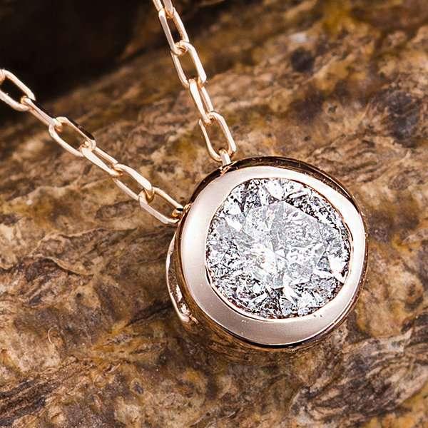 K18PG 0.15ct ダイヤモンド フクリン ゴールド ネックレス ペンダント