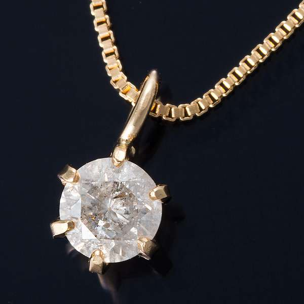 K18 0.1ct ダイヤモンド ペンダント ネックレス ベネチアンチェーン(鑑定書付き)
