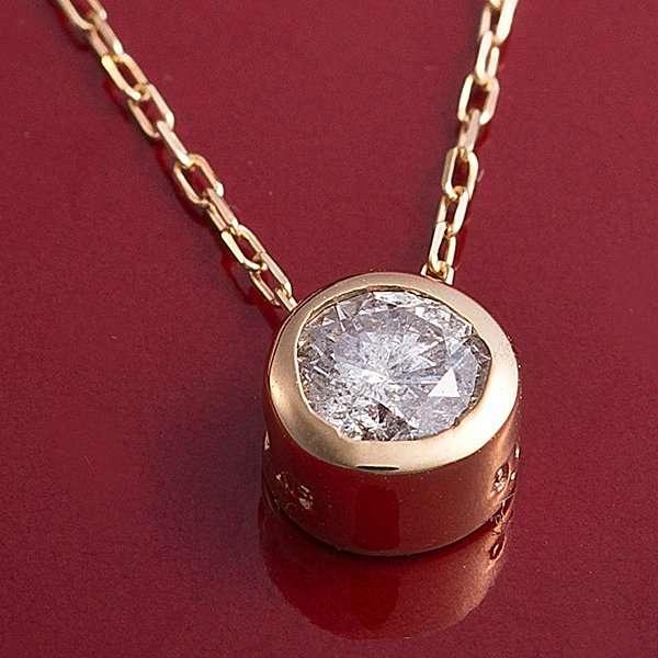K18YG 0.15ct ダイヤモンド フクリン ゴールド ネックレス ペンダント