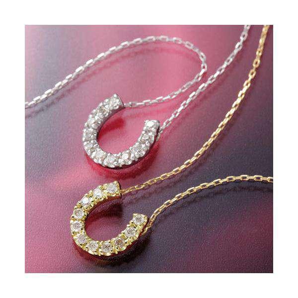 K18 ホースシュー ダイヤモンド ゴールド ペンダント ネックレス WG