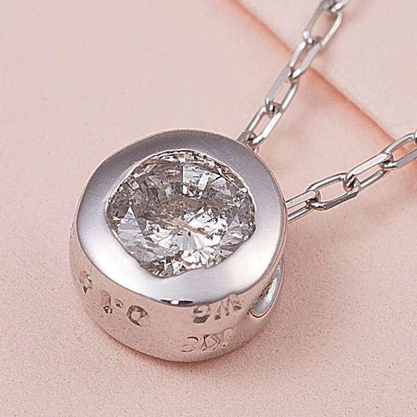 K18WG 0.1ct ダイヤモンド フクリン ゴールド ネックレス ペンダント