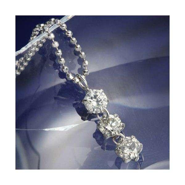 PT 0.5ct ダイヤモンド スリーストーン プラチナ ネックレス ペンダント