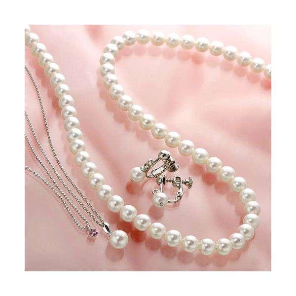 あこや真珠使用 パール ネックレス & パールイヤリング & パール ペンダント 3点セット ピンクトルマリンの ペンダント付き