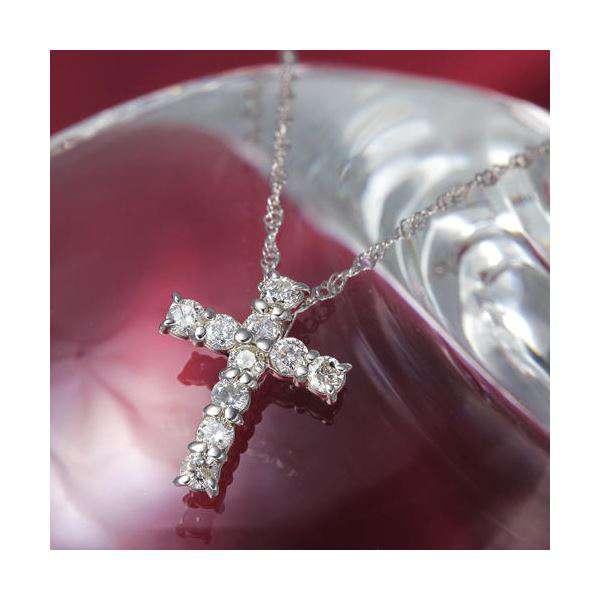 K10 WG 0.3ct ダイヤモンド クロス ゴールド ネックレス ペンダント