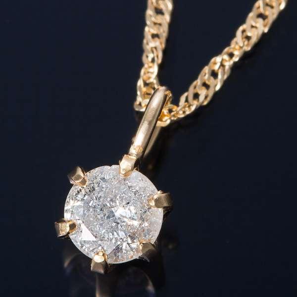 K18 0.1ct ダイヤモンド ペンダント ネックレス スクリューチェーン(鑑別書付き)