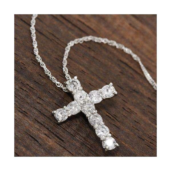 純プラチナ ジュエリー 計0.5ct ダイヤモンド クロス ペンダント(十字架 ネックレス)約42cm