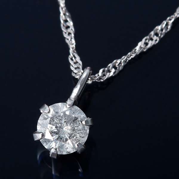 K18WG 0.1ct ダイヤモンド ペンダント ネックレス スクリューチェーン