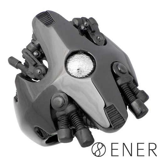 エネル ENER リング 指輪 メンズ シルバー ジュエリー BANDITS 無法者 ギベオン隕石 ブラック 15~25号 925 スターリングシルバー ENER-KF-11BK