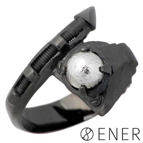【エネル】ENER リング 指輪 メンズ シルバー ジュエリー SNIPER 狙撃 ギベオン隕石 ブラック 15~25号 925 スターリングシルバー ENER-KF-12BK