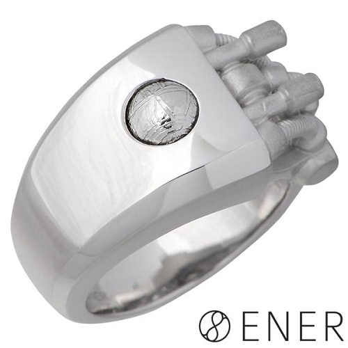 ENER【エネル】リング 指輪 メンズ シルバー DEVELOPMENT 発展、展開 ギベオン隕石 15~25号 925 スターリングシルバー ENER-KF-15SV
