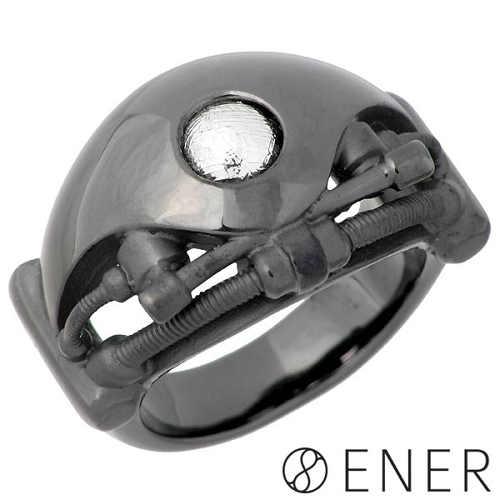 ENER【エネル】リング 指輪 メンズ シルバー SPIRIT 心 ギベオン隕石 ブラック 15~25号 925 スターリングシルバー ENER-KF-16BK