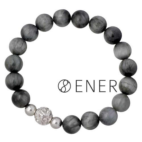 ENER【エネル】ブレスレット メンズ シルバー DESTINY 運命 ストーン ギベオン隕石 イーグルアイ 925 スターリングシルバー ENER-KF-19EAGLE