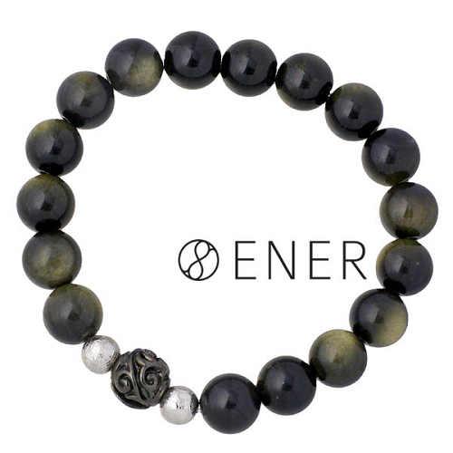 ENER【エネル】ブレスレット メンズ シルバー DESTINY 運命 ストーン ギベオン隕石 ゴールデンオブシディアン ブラック 925 スターリングシルバー ENER-KF-19GOLD