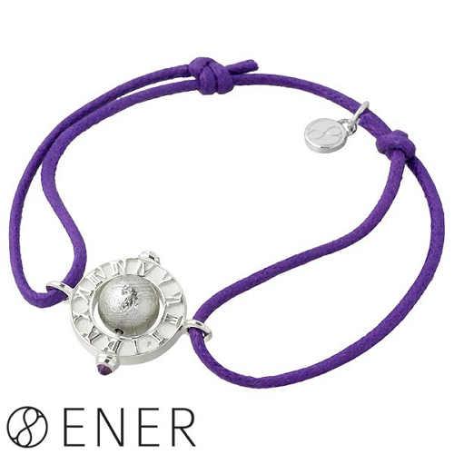 ENER【エネル】ブレスレット メンズ シルバー GAIA 時間軸 コード ギベオン隕石 アメジスト 925 スターリングシルバー ENER-KF-24PP