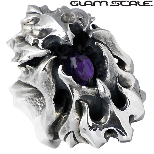 【グラムスケイル】GLAM SCALE リング 指輪 メンズ シルバー ジュエリー ストーン アメジスト 15~23号 925 スターリングシルバー GS-DR-009AM