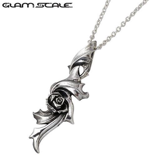 GLAM SCALE【グラムスケイル】ネックレス レディース ローズ メンズ シルバー バラ チェーン付き 925 スターリングシルバー GS-ET-006CL60