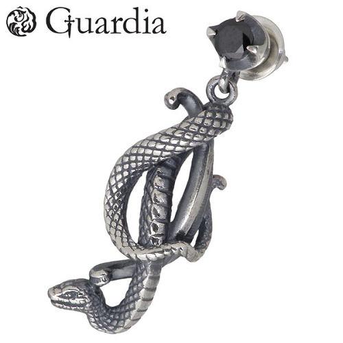 ガルディア Guardia ピアス レディース メンズ シルバー ジュエリー メデューサ 蛇 ブラックキュービック ヘビ スネーク 1個売り 左耳用 925 スターリングシルバー ATPI-005L-BZ
