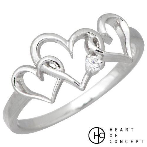 【ハートオブコンセプト】HEART OF CONCEPT リング 指輪 レディース 3連 ハート シルバー ジュエリー キュービック ホワイト 925 スターリングシルバー HCR-219WH