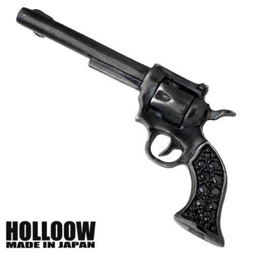 【ホロウ】HOLLOOW ピンブローチ レディース メンズ シルバー ジュエリー ガン キュービック ブラック 銃 925 スターリングシルバー KHP-119BK