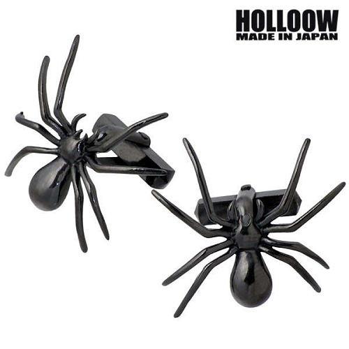 【ホロウ】HOLLOOW カフスボタン メンズ シルバー ジュエリー スパイダー ブラック クモ 蜘蛛 925 スターリングシルバー KHP-133