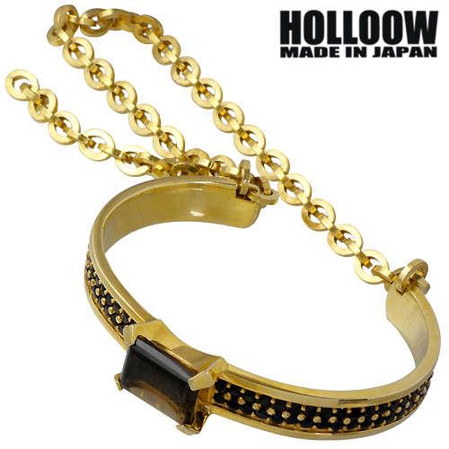 【ホロウ】HOLLOOW バングル メンズ シルバー ジュエリー ゴールド スモーキークォーツ ブレスレット 925 スターリングシルバー KHP-142GD