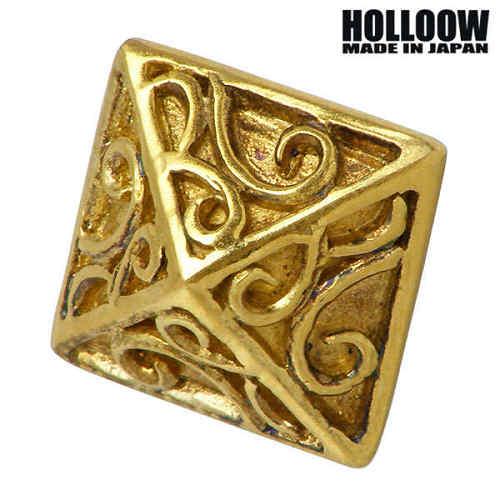【ホロウ】HOLLOOW ピアス レディース メンズ シルバー ジュエリー スクエア 1個売り 片耳用 スタッド型 ゴールド ユリ 百合 唐草 925 スターリングシルバー KHP-259GD