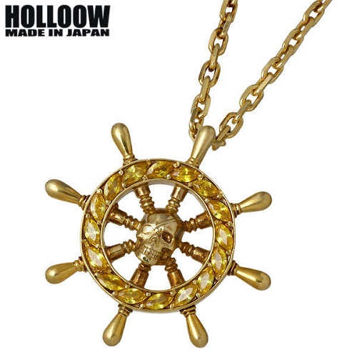 【ホロウ】HOLLOOW ネックレス メンズ シルバー ジュエリー ラダーホイール ゴールド キュービック スカル ドクロ 髑髏 925 スターリングシルバー KHP-276GD