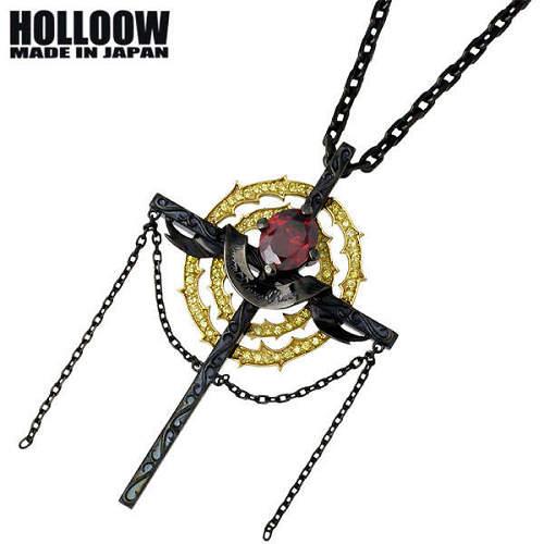 HOLLOOW【ホロウ】ネックレス メンズ シルバー シーゴッド ブラック キュービック クロス 十字架 925 スターリングシルバー KHP-277BK