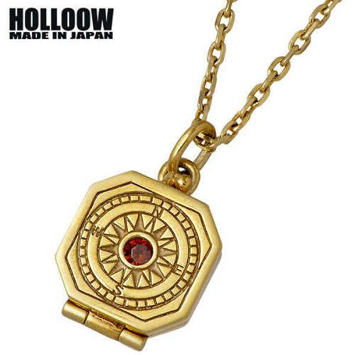 ホロウ HOLLOOW ネックレス メンズ シルバー ジュエリー コンパス ゴールド 羅針盤 スカル ドクロ 髑髏 925 スターリングシルバー KHP-283GD