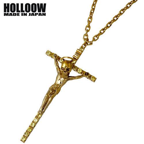 HOLLOOW【ホロウ】ネックレス メンズ シルバー クロス ゴールド キュービック 十字架 925 スターリングシルバー KHP-284GD