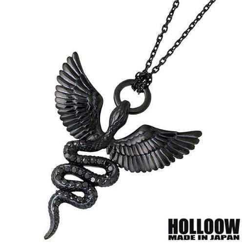【ホロウ】HOLLOOW ネックレス メンズ シルバー ジュエリー ゴッド ブラック キュービック ヘビ 蛇 ウィング 翼 925 スターリングシルバー KHP-285BK