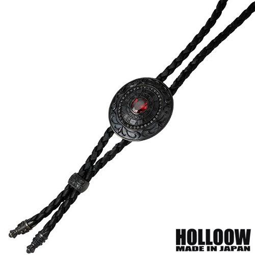 HOLLOOW【ホロウ】ネックレス メンズ シルバー クィーン レザー紐付き ブラック キュービック 925 スターリングシルバー KHP-287BK
