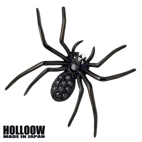 【ホロウ】HOLLOOW ピンブローチ レディース メンズ シルバー ジュエリー ラージスパイダー キュービック ブラック クモ 蜘蛛 925 スターリングシルバー KHP-59