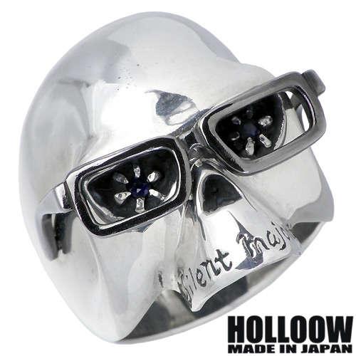 ホロウ HOLLOOW リング 指輪 レディース スカル メンズ シルバー ジュエリー サファイア ドクロ 髑髏 10~25号925 スターリングシルバー KHR-09