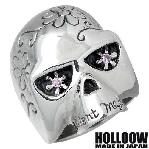 【ホロウ】HOLLOOW リング 指輪 レディース スカル メンズ シルバー ジュエリー ピンクキュービック ドクロ 髑髏 10~25号925 スターリングシルバー KHR-10